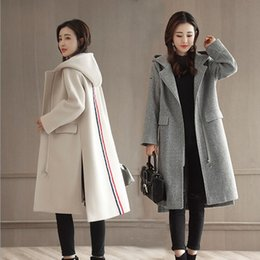 Wholesale Womens White Wool Trench Coat - jacket hooded trench coat women loose clothing white grey wool womens long zipper blends outwear coats petite ladies warm jackets plus size