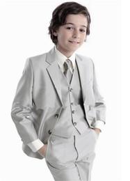 Wholesale boys wool tuxedo - Hot sale boys suit Fashion Design tuxedo party formal children's 4 pieces tuxedo boys wedding clothes (jacket+pants+vest+tie)