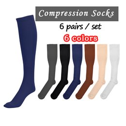 Wholesale Leg Slimming Socks - Sold as a set 6 Pairs set Miracle Socks Anti Fatigue Compression Stocking Socks Leg Warmers Slimming socks Calf Support Relief Pain