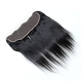 Wholesale Cheap Hair Ties - 8A straight weave peruvian Closure 13x4 Free Part black Hand Tied Swiss Lace peruvian Straight Cheap Lace Closure With Free Shipping