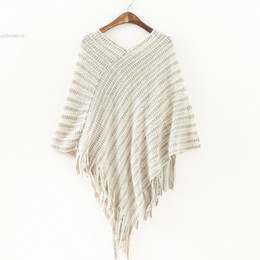 Wholesale Turtleneck Sweater Wholesales - Wholesale-Womens Autumn Cape Ladies Batwing Sweater Poncho Turtleneck Pullovers Tassel Knitted Shawl Pull Femme Sweter