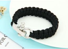 black paracord charms Coupons - Survival Paracord Bracelet Men Outdoor Camping Handmade Woven Parachute Bow Adjustable Buckle Bangle Brazaletes Pulseras Hombre