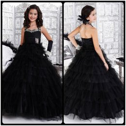 Wholesale Dress Gril Blue - Black Flower Gril Pageant Dresses 2017 Amazing Halter Crystal Tulle Ball Gowns Wedding Party Floor Length Girls Pageant Dresses