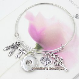 Wholesale Wholesale For Dancing Shoes - Newest Fashion Interchangeable Jewelry Style Dance Ballet Shoes Ballerina Charms Expandable Wire Snap Bangles Bracelets for women Jewelry