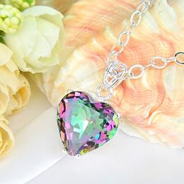 Wholesale Gemstone Necklaces - 925 silver mystic topaz heart shaped pendant gemstone jewelry free shipping P0905