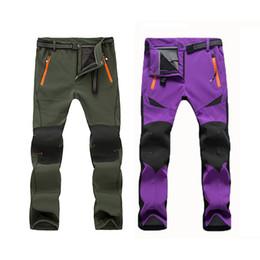 Wholesale Black Women Trousers - Wholesale-Winter Hiking Pants Thermal Fleece Warm Ski Trousers Waterproof Soft Shell Men Camping Trekking Women Plus size Polartec Pants