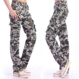 Wholesale Baggy Pants For Girls - Red Khaki Camouflage Women Baggy Cargo Pants Big Size 36 38 Girls Dance Outdoor Hiking Pant Camo Cargo Pants For Women