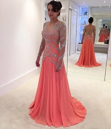 Wholesale watermelon art - Evening Dresses 2017 New Cheap V Neck Illusion Long Sleeves Watermelon Chiffon Crystal Beading Backless Formal Party Dress Prom Gowns