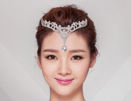 Wholesale Crystal Flower Heads - 1 Piece Silver Crystals Rhinestones Flower Head Chain Jewelry Forehead Headpiece Bride
