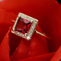 Wholesale Red Tourmaline Rose Gold Ring - Engagement Hot sale 18k rose gold plated square princess cut natural ruby red tourmaline rings for women