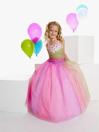 Wholesale Multi Color Beaded Pageant Dresses - 2016 New Lovely Girl's Pageant Dresses Straps Glitter Multi Color Tulle Beaded Bodice Ball Gown Birthday Party Kids Flower Dresses