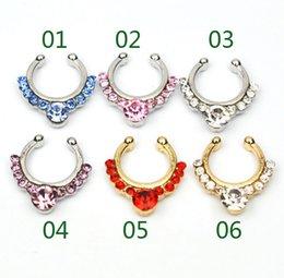 anillo de la nariz de oro 18k Rebajas D0611 (6 colores) Anillo nariz Nariz gancho Nariz Anillos Perforación del cuerpo Joyería Fake Septum Clicker Non Piercing Hanger Clip On Women Body Jewellry