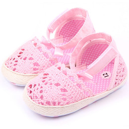 Wholesale Knitted Crib Shoes Girls - Wholesale- Princess Girl Crib Shoes Baby Infant Soft Sole Crochet Knit Shoes Prewalker