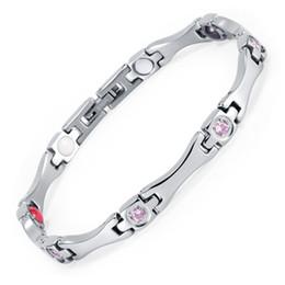 Wholesale Energy Negative Ion Bracelet - Rainso Elegant Stainless Steel Energy Health Bracelet 4 in 1 Magnetic,Germanium,FIR, Negative ions bracelets for women OSB-1553S