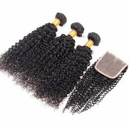 Wholesale Queen Hair Curly Closure - Queen Hair Products 8A Malaysian kinky Curly Virgin Human Hair 100% Unprocessed Hair with Lace Closures 4pcs lot, 3pcs with 1pc closure