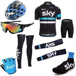 Wholesale Sky Tour France Jersey - New Arrival 2016 Tour De France Short Sleeves Cycling Jerseys SKY Black Color Bike Wear Arms Legs Helmet Sunglasses Gloves Shoes Covers