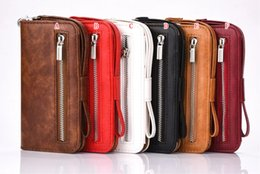 bracelet à monture iphone Promotion Sangle Zipper Wallet Étui En Cuir Poche Pour IPhone 6 6 S Plus I6 Iphone6 ​​ID Cartes Slot Money Purse Photo Cadre Stand TPU Carte Couverture 30 pcs