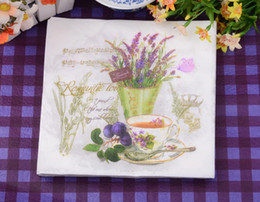 Wholesale Wholesale Printed Paper Napkins - Disposable Lavender Narcissus Printing Wood Pulp Paper Napkin Kitchen Napkins Birthday Party Supplies 100pcs lot DEC080