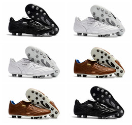 Wholesale Ground Spikes - 2018 original soccer cleats King Top M.I.I CHROME FG Kangaroo leather fg soccer shoes mens soft ground football boots cheap black Brown New
