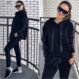 Wholesale Hoodie Promotion - 2017 Promotion Full Standard None Hooded Casual Polyester Solid Slim Europe And The Leisure New Lady Hoodie Suit