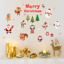 Wholesale Glass Door Showcase - Christmas Window Stickers Removable Wall Decals DIY Home Decor Glass Door Decal Showcase Stickers Decoration for Christmas New Year