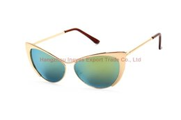 Wholesale Cateye Glasses Frames - 2016 Vintage Cateye Sunglasses Half Metal Frame With Reflective Sun Glasses Mix Colors Europe and America Fashion Style