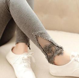 Wholesale Thin Striped Leggings - Wholesale- 2016 New Korean Style Women Leggings Foot mouth lace crochet Nine Leggings Pantalones office lady Significantly thin pants