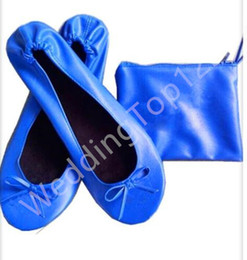 Wholesale Promotional Bags Logo - Rolled UP Shoe Soft Promotional Gifts Women Ballerina Shoes In Zipper Pouch Bag Customized Logo Small Orders Accepted