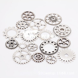 Wholesale Diy Steampunk - 100pcs lot Gold silver vintage bronze Mix retro steampunk gears jewelry charms pendant steampunk gears for DIY necklace