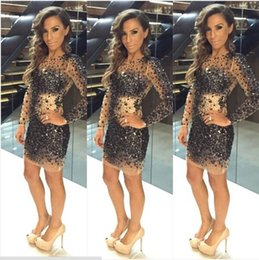 Wholesale Sparkly Mini Prom Dress - Sparkly Shiny Black Crystal Beaded Long Sleeve Cocktail Dresses Short 2016 Charming Luxury Mini Party Formal Prom Gown