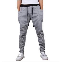 Wholesale Boys Sweatpants - Wholesale-Mens Joggers New Style Fashion 2016 Casual Skinny Joggers Sweatpants Drop Crotch Jogging Harem Pants Men Boys Joggers Sarouel