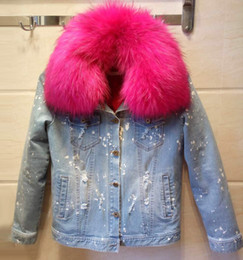 Wholesale Jeans Lady Shorts - Oversized raccoon fur collar Ladies short light jeans jacket women Slim furs jackets Removable plush liner
