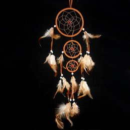 Wholesale Blue Female Rings - New Arrival Feather dream catcher decor feather decorations Three-ring Indian feather accessori dream catchers in mixed colors free shipping