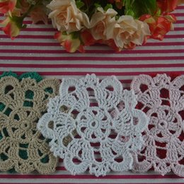 """Wholesale Handmade Crocheted Tablecloths - Wholesale- 10PCS Vintage Handmade Crocheted Doilies 4"""" 10cm Round Cup Mat Pad tablecloth Coasters White Wadding Home Decoration"""