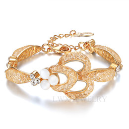 Wholesale Golden Chains For Wedding - Luxury Opal Bracelet Top AAA Zircon Alloy Austrian Real 18K Gold Plated Wedding Bracelets Jewelry for Bride and Bridesmaid Golden Diamond