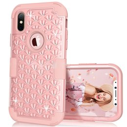 Wholesale Iphone Bling Protective - For iphone x Diamond Studded Bling Rhinestone Hybrid Heavy Duty Shockproof Full-Body Protective Case with Dual Layer For iphone x 8 8plus