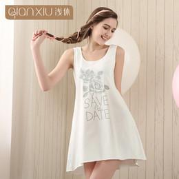 Wholesale Women S Sleeveless Cotton Nightgowns - Wholesale- Qianxiu Cotton Nightgown For Women Knee-length Sleepshirts Summer Sleeveless Sleepwear