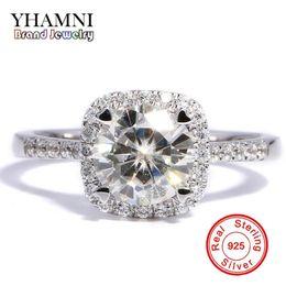 2019 anéis de diamante grande YHAMNI 90% DE DESCONTO Grande Venda Clássico Original de Prata Anéis de Noivado Wedding Band para As Mulheres 1ct Anel de Diamante de Prata Esterlina 925 R035 desconto anéis de diamante grande