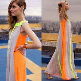 Wholesale Dress Fluorescent - Fashion stitching sleeveless vest fluorescent candy color skirt dress dress size loose dress summer