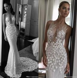 Wholesale Wedding Dresses Crystals Fully - Illusion Jewel Neck Sweetheart Fully 3D Floras Appliques Beaded Wedding Dresses 2018 Elihav Sasson Sleeveless Sweep Train Wedding Gowns