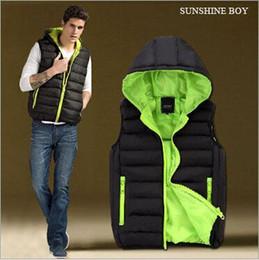 Wholesale Cotton Waistcoat For Men - Sunshine Boy Winter Spring 2015 New Arrival Mens Womens Hooded Vest Cotton Down Jacket Fasion Waistcoat For Man Vests