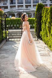 Wholesale Long Cream Prom Dresses - 3D Flowers Burgundy Cream Boho Prom Dress 2017 Elegant Pink Cute Sleeveless Corset Party Dress Tulle Open back Long Formal Evening Gowns