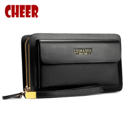 Wholesale Wholesale Purse Chains - Wholesale- Mens wallet money clip phone Admission package High capacity Multi-bit Casual Clutch clutch men purse for coins luxury wallet