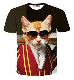 Wholesale White Gray Tiger Cats - tshirt Harajuku Hip Hop T-shirt for men women 3d t shirt print Gentleman cat tiger snake Graphic tops tshirt men clothes