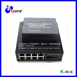 Wholesale Port Fiber Optic - 1 Pair 10 100 1000Mbps Fiber Optic Ethernet Media Converter Gigabite SM Single Fiber with 8 RJ45 UTP and 1 SC Port