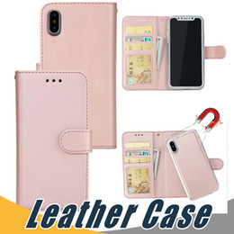 Wholesale pocket magnetic - For iPhone X 8 7 6 Plus 5 Magnetic Magnet Detachable Removable Wallet Leather Case Cover For Samsung Note8 S8 Plus S7 Edge