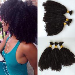Wholesale Kinky Curly Brazilian Extensions - Braiding Hair Bulk 3 Bundles Deal Cheap Brazilian Kinky Curly Wave Hair Extension No Weft in Bulk