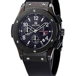 Wholesale Waterproof Watches Cheap - 2017 MEGIR Mens Watches Summer Outdoor Sports Athletic Quartz Waterproof Quality Silicone Calender Chronograph Sale Wristwatches Cheap