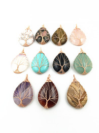 Wholesale Brass Plated Wire - Handmade Nature Healing Stone Crystal Quartz Pendant Necklace Gemstone Yoga Pendant with Rose Gold Plated Wire Wrapped,Yoga Chakras Necklace