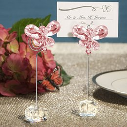 Wholesale Butterfly Clip Decoration - Crystal butterfly place card holder Fashion classic crystal and stainless steel seat clamp table card clip Wedding decoration